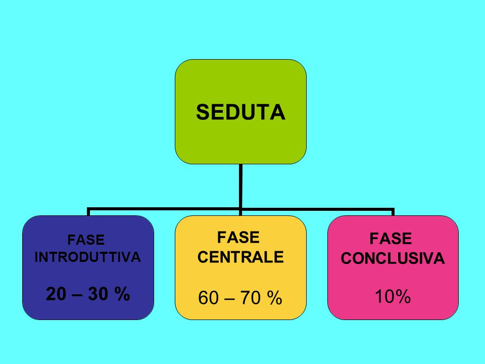 SEDUTA FASE INTRODUTTIVA 20 – 30 % FASE CENTRALE 60 – 70 % FASE CONCLUSIVA 10%