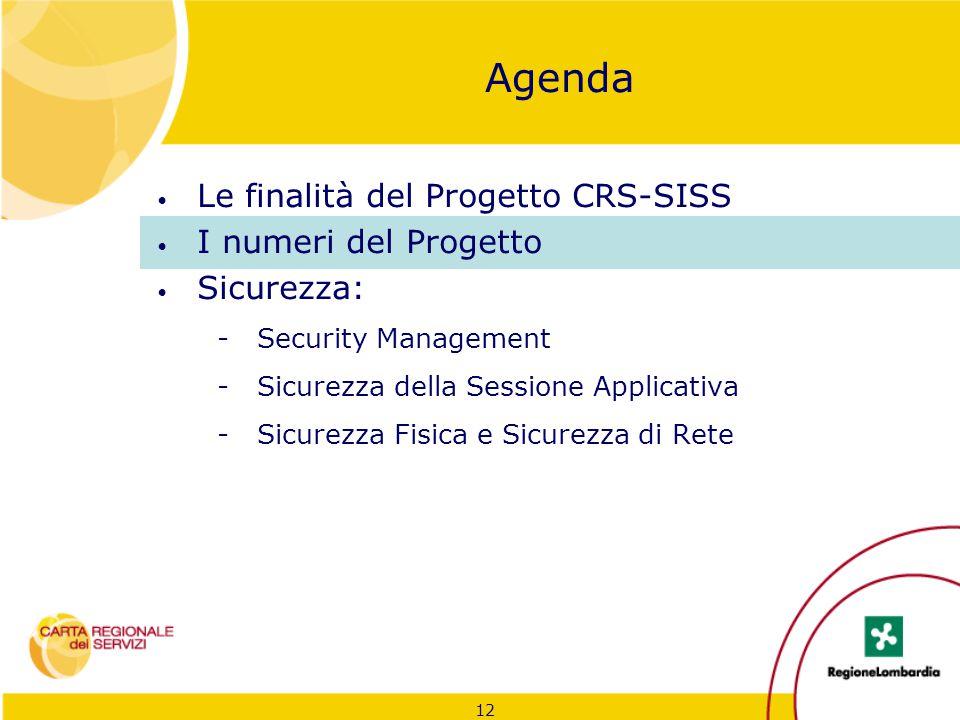 12 Agenda Le finalità del Progetto CRS-SISS I numeri del Progetto Sicurezza: -Security Management -Sicurezza della Sessione Applicativa -Sicurezza Fis