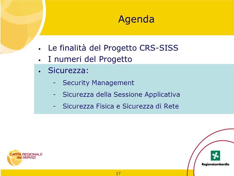 17 Agenda Le finalità del Progetto CRS-SISS I numeri del Progetto Sicurezza: -Security Management -Sicurezza della Sessione Applicativa -Sicurezza Fis