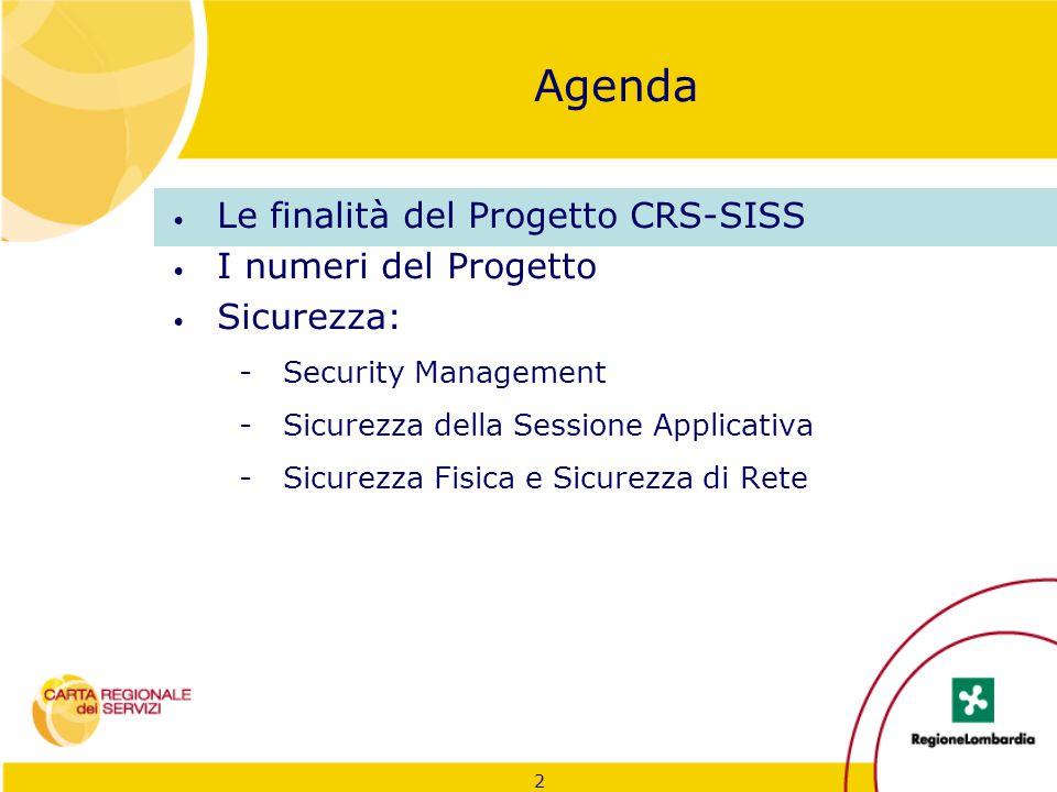 2 Agenda Le finalità del Progetto CRS-SISS I numeri del Progetto Sicurezza: -Security Management -Sicurezza della Sessione Applicativa -Sicurezza Fisi