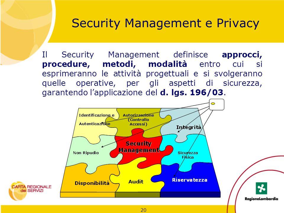 20 Security Management e Privacy Il Security Management definisce approcci, procedure, metodi, modalità entro cui si esprimeranno le attività progettu