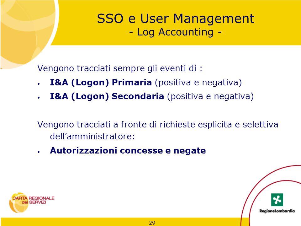 29 SSO e User Management - Log Accounting - Vengono tracciati sempre gli eventi di : I&A (Logon) Primaria (positiva e negativa) I&A (Logon) Secondaria
