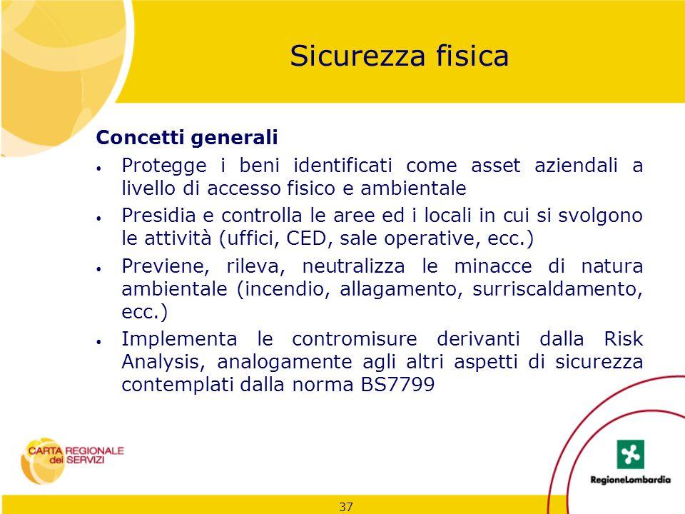 37 Sicurezza fisica Concetti generali Protegge i beni identificati come asset aziendali a livello di accesso fisico e ambientale Presidia e controlla