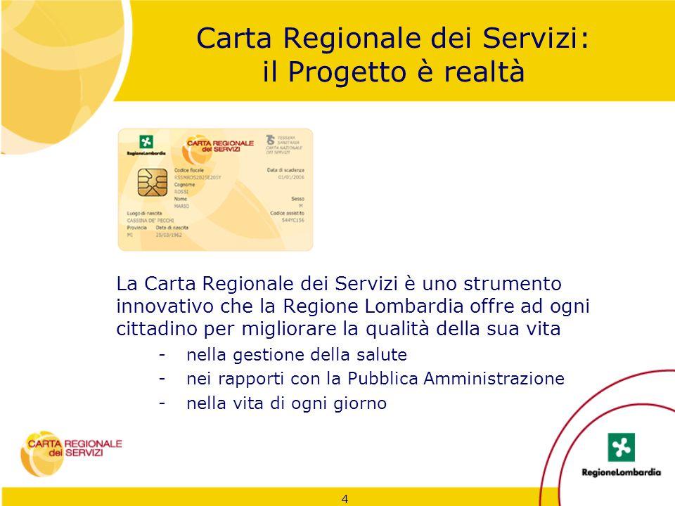 4 Carta Regionale dei Servizi: il Progetto è realtà La Carta Regionale dei Servizi è uno strumento innovativo che la Regione Lombardia offre ad ogni c