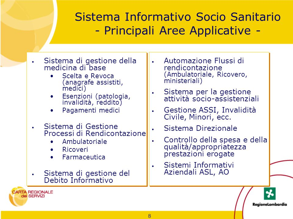 8 Sistema Informativo Socio Sanitario - Principali Aree Applicative - Sistema di gestione della medicina di base Scelta e Revoca (anagrafe assistiti,