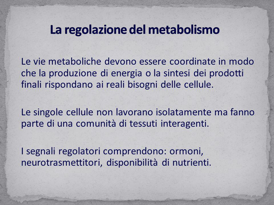 Le vie metaboliche devono essere coordinate in modo che la produzione di energia o la sintesi dei prodotti finali rispondano ai reali bisogni delle cellule.