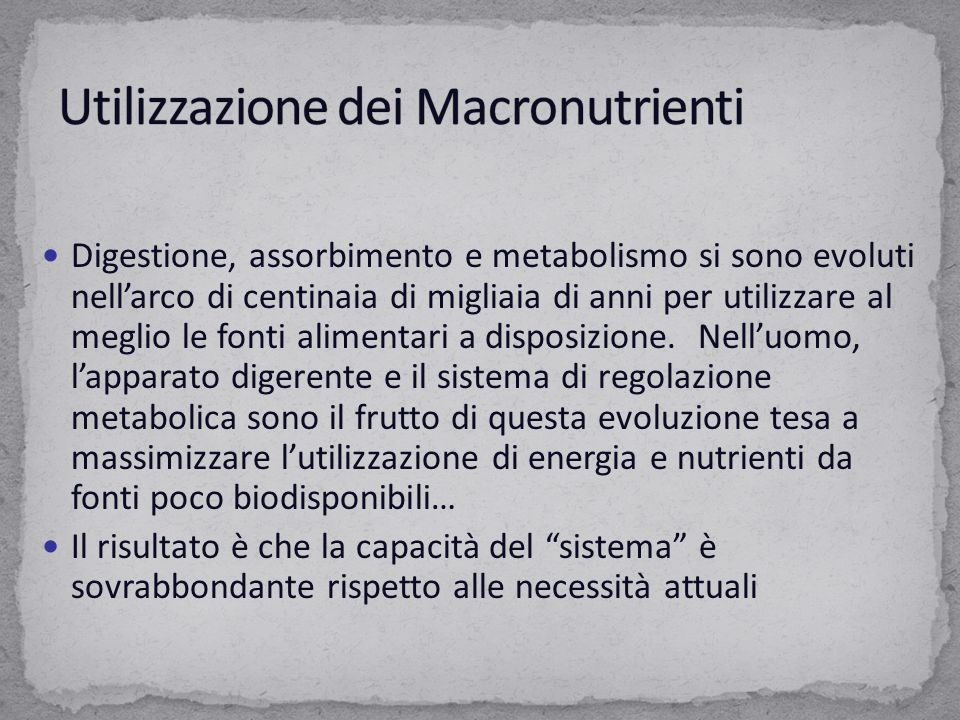 Il muscolo a riposo utilizza gli Ac.Grassi come fonte principale di energia.