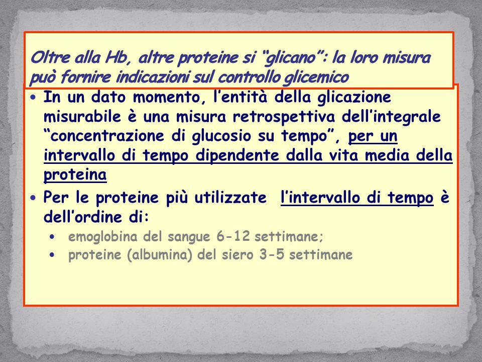 """In un dato momento, l'entità della glicazione misurabile è una misura retrospettiva dell'integrale """"concentrazione di glucosio su tempo"""", per un inter"""