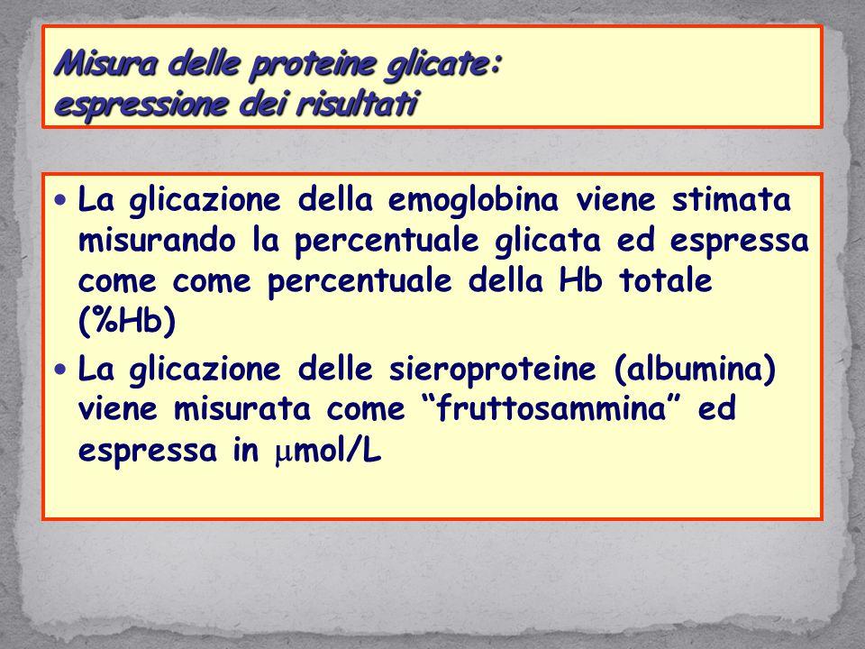 La glicazione della emoglobina viene stimata misurando la percentuale glicata ed espressa come come percentuale della Hb totale (%Hb) La glicazione de