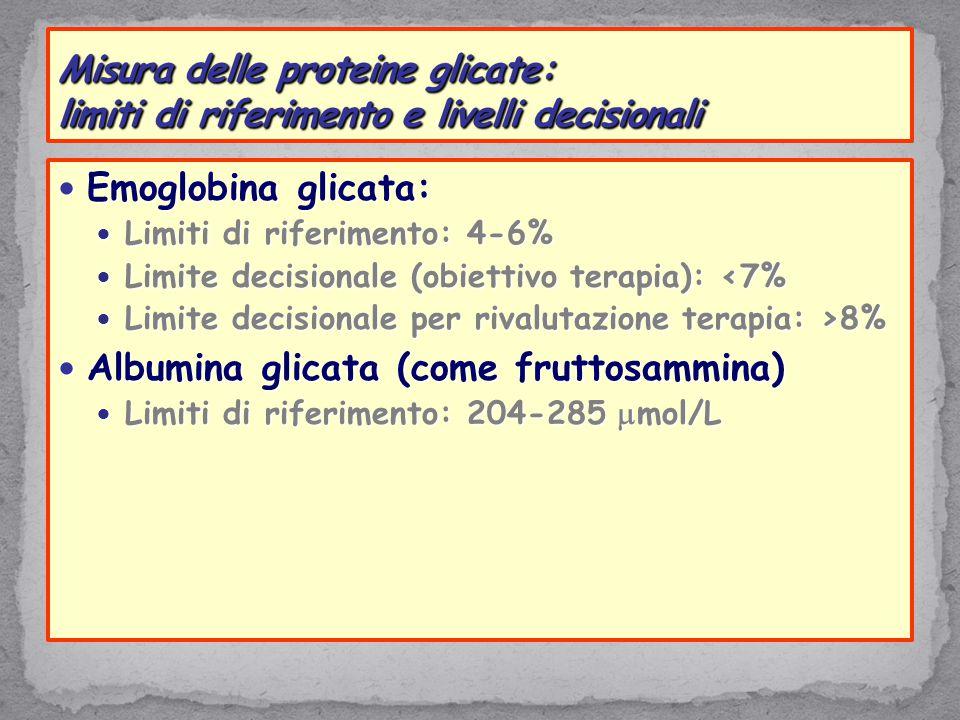 Emoglobina glicata: Emoglobina glicata: Limiti di riferimento: 4-6% Limiti di riferimento: 4-6% Limite decisionale (obiettivo terapia): <7% Limite decisionale (obiettivo terapia): <7% Limite decisionale per rivalutazione terapia: >8% Limite decisionale per rivalutazione terapia: >8% Albumina glicata (come fruttosammina) Albumina glicata (come fruttosammina) Limiti di riferimento: 204-285  mol/L Limiti di riferimento: 204-285  mol/L