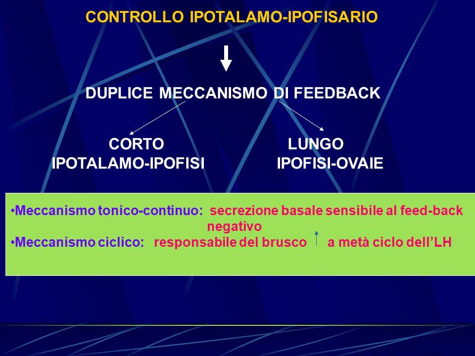CONTROLLO IPOTALAMO-IPOFISARIO DUPLICE MECCANISMO DI FEEDBACK CORTO LUNGO IPOTALAMO-IPOFISI IPOFISI-OVAIE Meccanismo tonico-continuo: secrezione basal