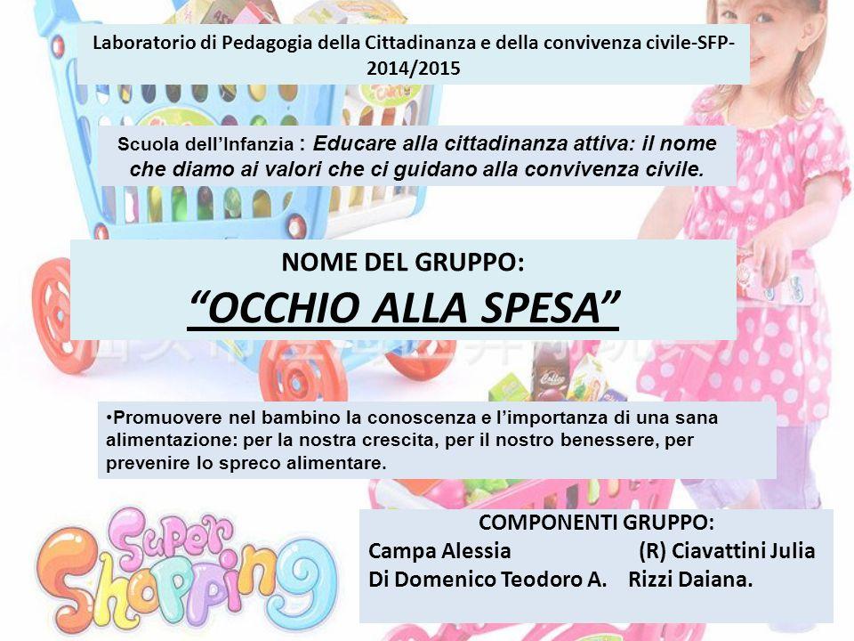 Laboratorio di Pedagogia della Cittadinanza e della convivenza civile-SFP- 2014/2015 COMPONENTI GRUPPO: Campa Alessia (R) Ciavattini Julia Di Domenico