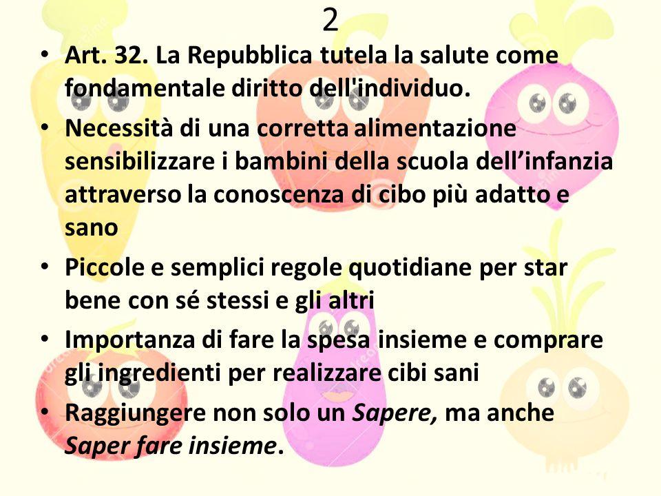 2 Art.32. La Repubblica tutela la salute come fondamentale diritto dell individuo.