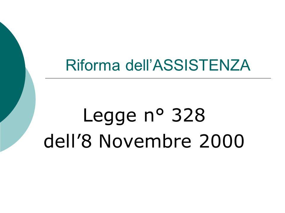 Riforma dell'ASSISTENZA Legge n° 328 dell'8 Novembre 2000