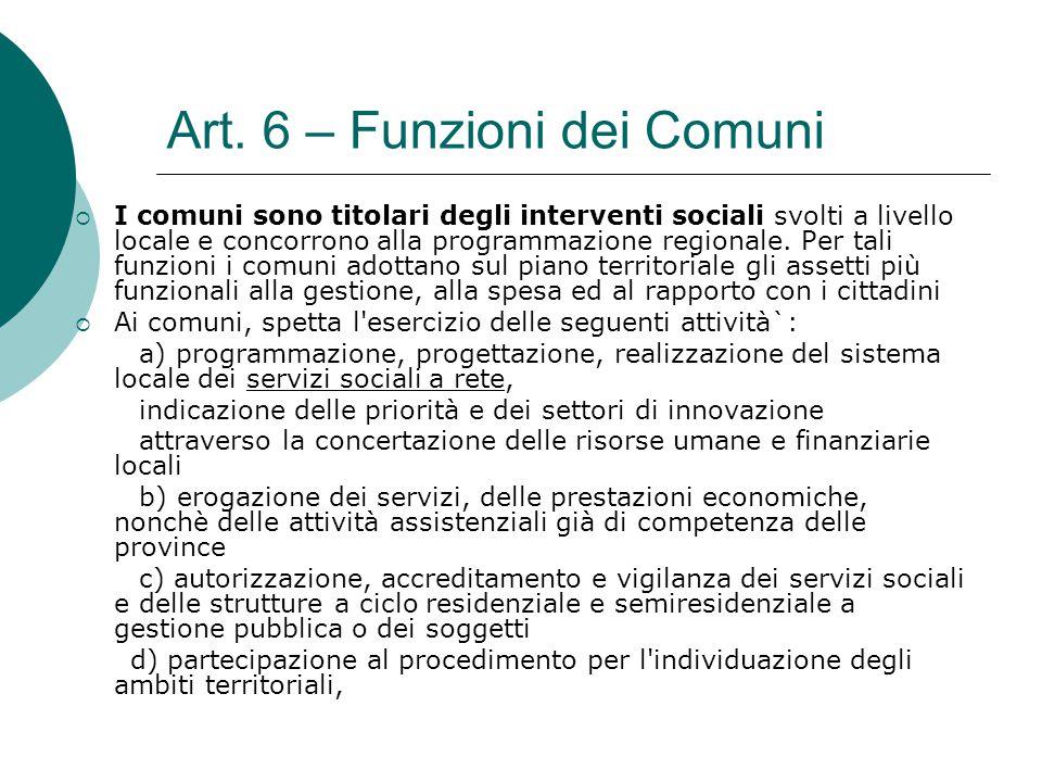 Art. 6 – Funzioni dei Comuni  I comuni sono titolari degli interventi sociali svolti a livello locale e concorrono alla programmazione regionale. Per
