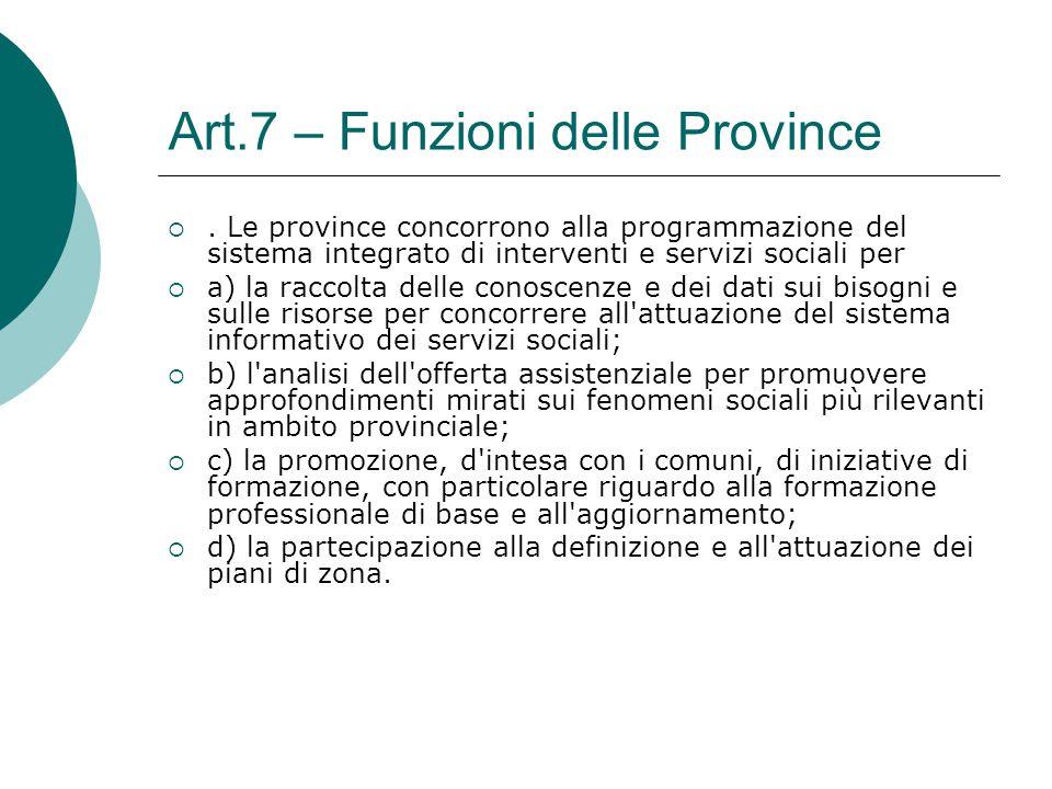 Art.7 – Funzioni delle Province . Le province concorrono alla programmazione del sistema integrato di interventi e servizi sociali per  a) la raccol