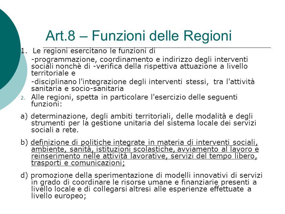 Art.8 – Funzioni delle Regioni 1. Le regioni esercitano le funzioni di -programmazione, coordinamento e indirizzo degli interventi sociali nonchè di -