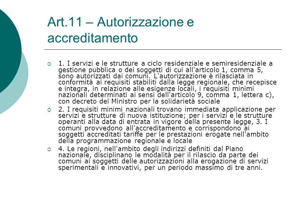 Art.11 – Autorizzazione e accreditamento  1. I servizi e le strutture a ciclo residenziale e semiresidenziale a gestione pubblica o dei soggetti di c