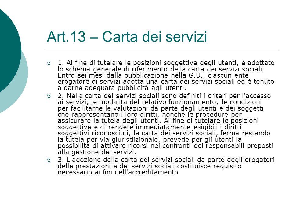 Art.13 – Carta dei servizi  1. Al fine di tutelare le posizioni soggettive degli utenti, è adottato lo schema generale di riferimento della carta dei