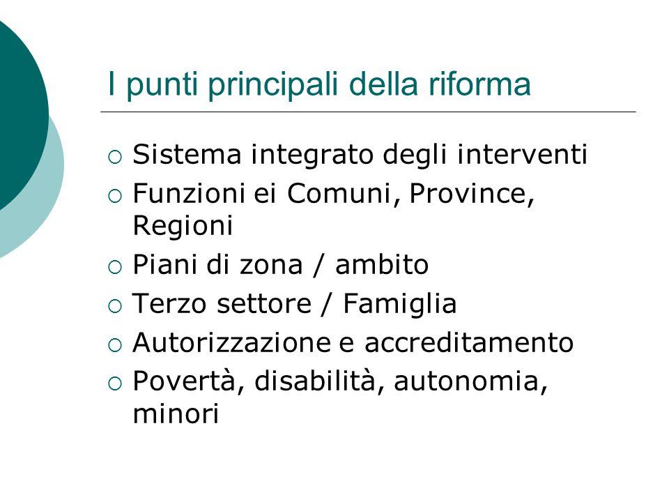 I punti principali della riforma  Sistema integrato degli interventi  Funzioni ei Comuni, Province, Regioni  Piani di zona / ambito  Terzo settore
