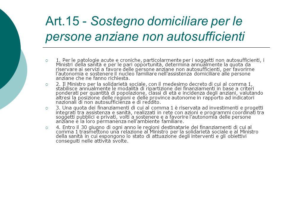 Art.15 - Sostegno domiciliare per le persone anziane non autosufficienti  1. Per le patologie acute e croniche, particolarmente per i soggetti non au