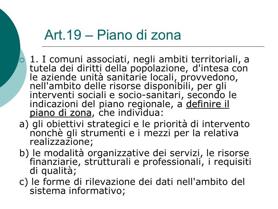 Art.19 – Piano di zona definire il piano di zona  1. I comuni associati, negli ambiti territoriali, a tutela dei diritti della popolazione, d'intesa