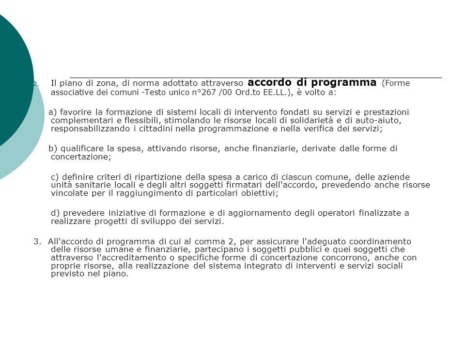 2. Il piano di zona, di norma adottato attraverso accordo di programma (Forme associative dei comuni -Testo unico n°267 /00 Ord.to EE.LL.), è volto a: