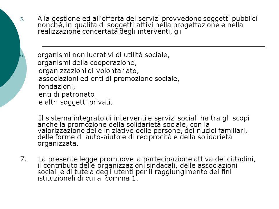 5. Alla gestione ed all'offerta dei servizi provvedono soggetti pubblici nonché, in qualità di soggetti attivi nella progettazione e nella realizzazio