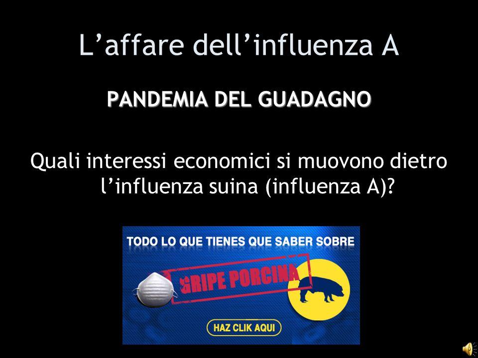 L'affare dell'influenza A PANDEMIA DEL GUADAGNO Quali interessi economici si muovono dietro l'influenza suina (influenza A)