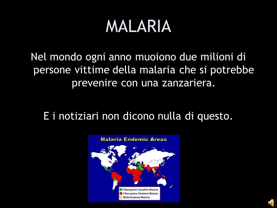 MALARIA Nel mondo ogni anno muoiono due milioni di persone vittime della malaria che si potrebbe prevenire con una zanzariera.