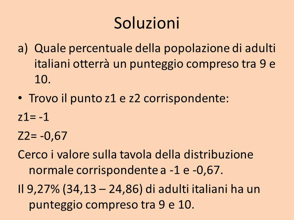 Soluzioni a)Quale percentuale della popolazione di adulti italiani otterrà un punteggio compreso tra 9 e 10. Trovo il punto z1 e z2 corrispondente: z1