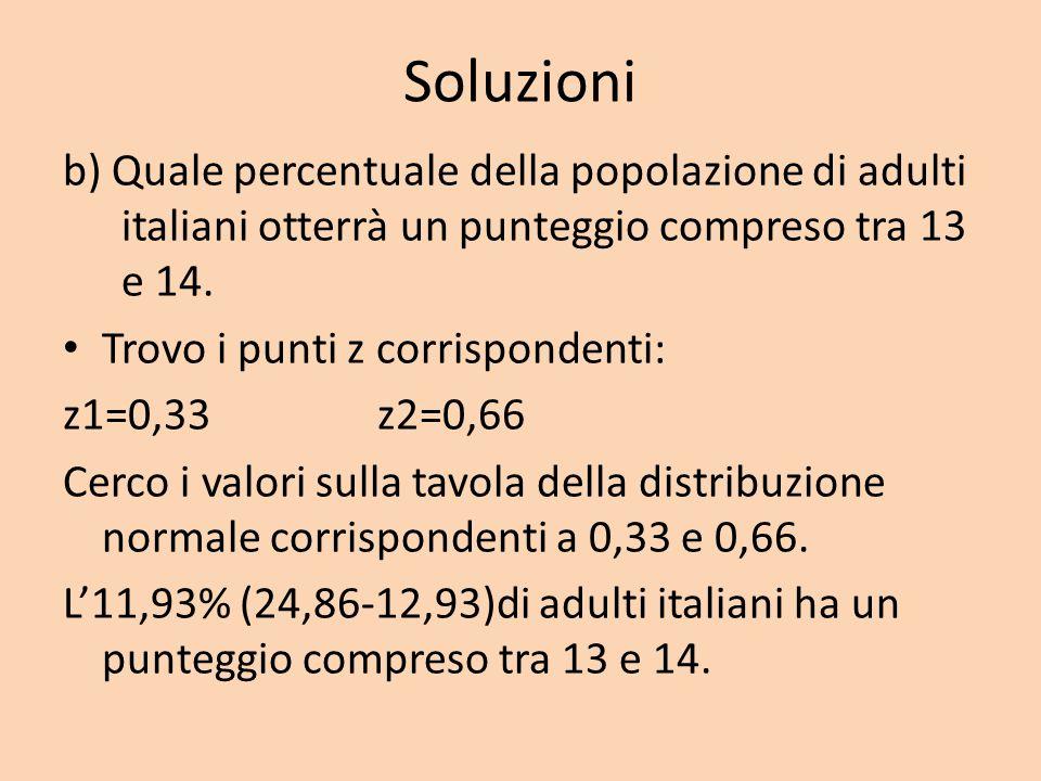 Soluzioni b) Quale percentuale della popolazione di adulti italiani otterrà un punteggio compreso tra 13 e 14. Trovo i punti z corrispondenti: z1=0,33