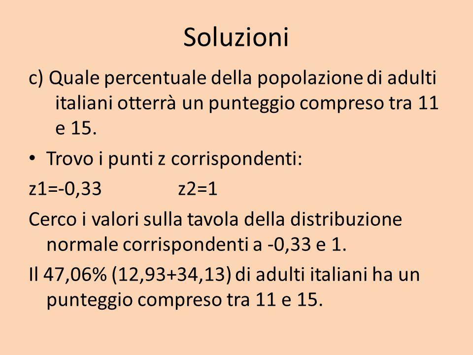 Soluzioni c) Quale percentuale della popolazione di adulti italiani otterrà un punteggio compreso tra 11 e 15. Trovo i punti z corrispondenti: z1=-0,3