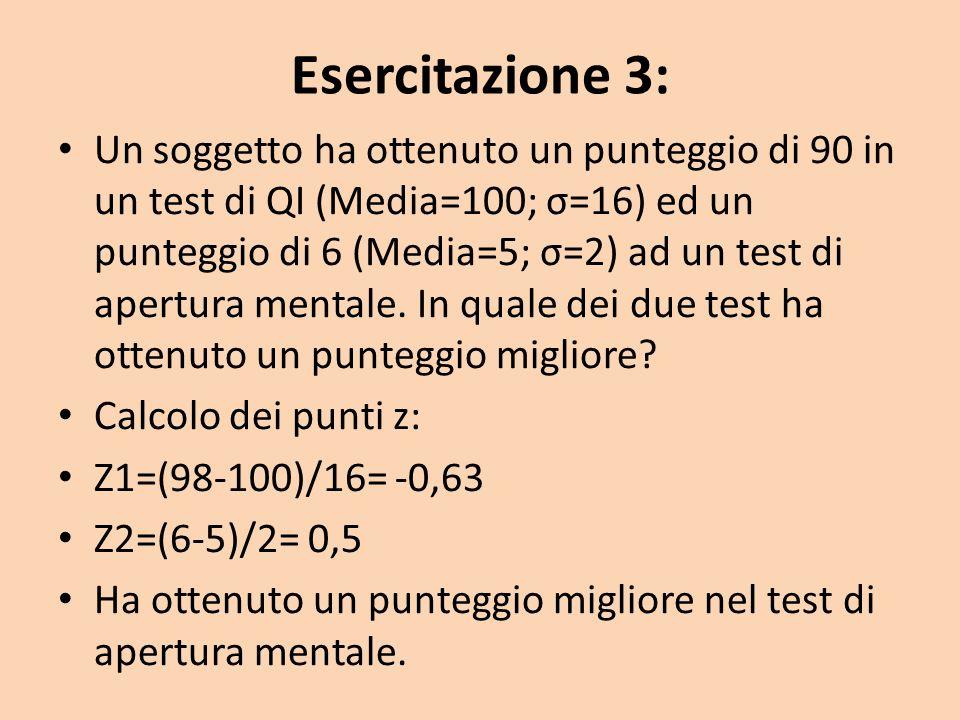 Esercitazione 3: Un soggetto ha ottenuto un punteggio di 90 in un test di QI (Media=100; σ=16) ed un punteggio di 6 (Media=5; σ=2) ad un test di apertura mentale.