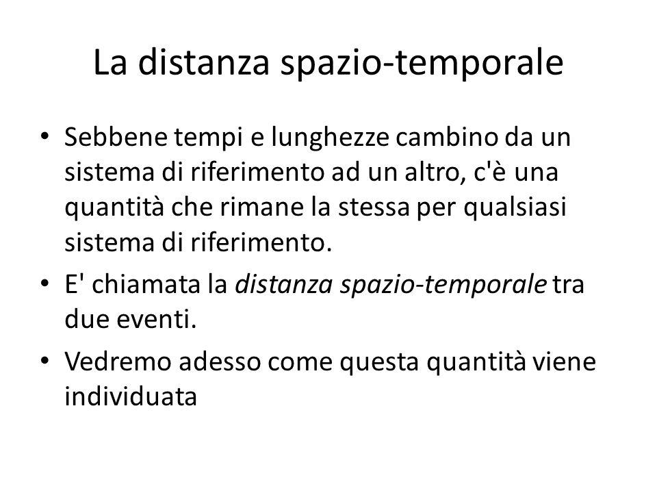 La distanza spazio-temporale Sebbene tempi e lunghezze cambino da un sistema di riferimento ad un altro, c'è una quantità che rimane la stessa per qua