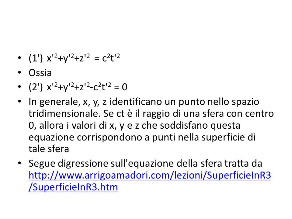 (1')x' 2 +y' 2 +z' 2 = c 2 t' 2 Ossia (2')x' 2 +y' 2 +z' 2 -c 2 t' 2 = 0 In generale, x, y, z identificano un punto nello spazio tridimensionale. Se c
