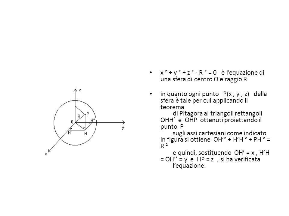 x ² + y ² + z ² - R ² = 0 è l'equazione di una sfera di centro O e raggio R in quanto ogni punto P(x, y, z) della sfera è tale per cui applicando il t