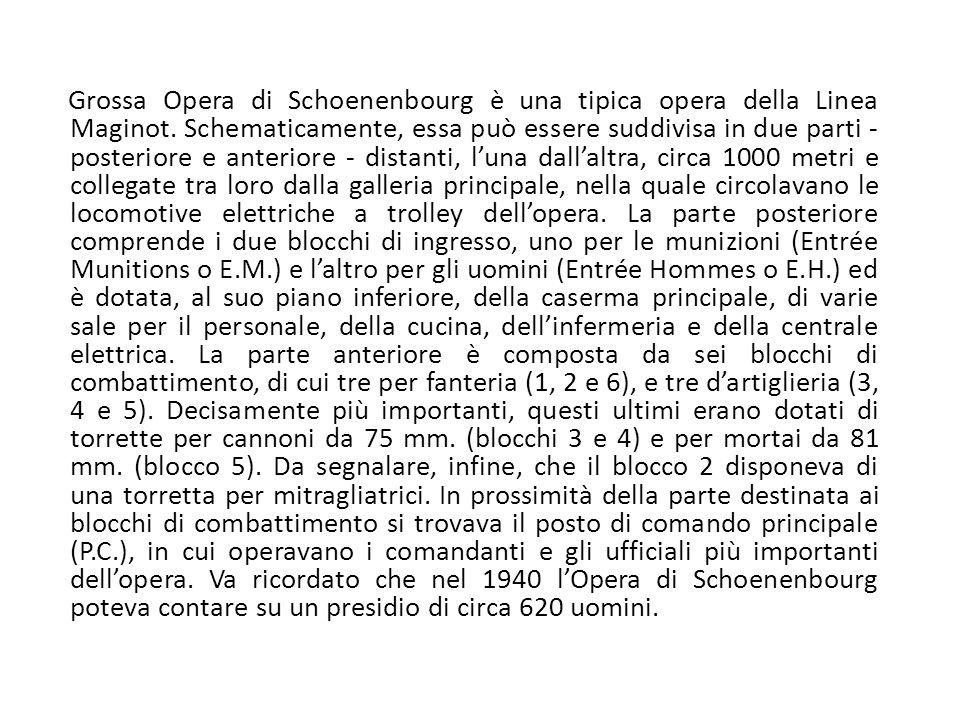 Grossa Opera di Schoenenbourg è una tipica opera della Linea Maginot. Schematicamente, essa può essere suddivisa in due parti - posteriore e anteriore