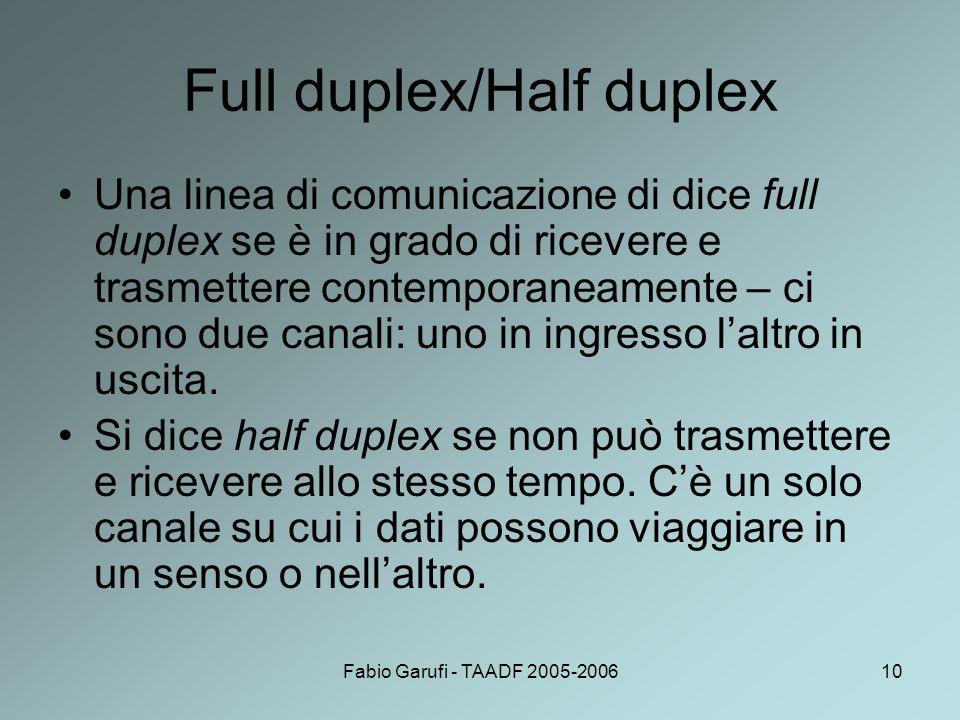 Fabio Garufi - TAADF 2005-200610 Full duplex/Half duplex Una linea di comunicazione di dice full duplex se è in grado di ricevere e trasmettere contem