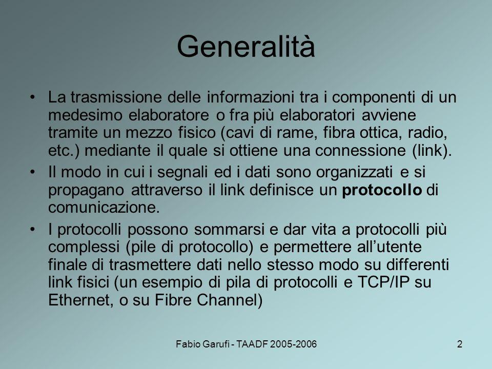 Fabio Garufi - TAADF 2005-20062 Generalità La trasmissione delle informazioni tra i componenti di un medesimo elaboratore o fra più elaboratori avvien