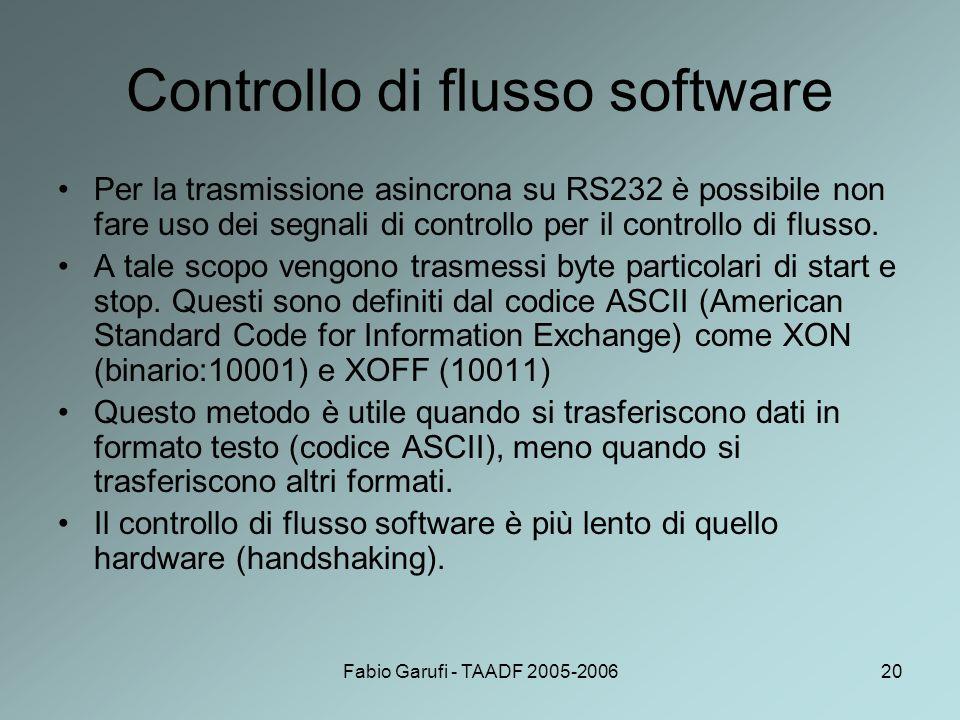 Fabio Garufi - TAADF 2005-200620 Controllo di flusso software Per la trasmissione asincrona su RS232 è possibile non fare uso dei segnali di controllo