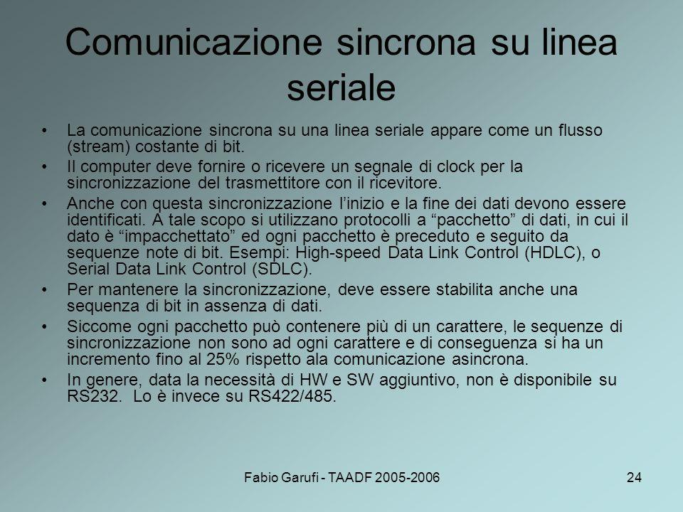 Fabio Garufi - TAADF 2005-200624 Comunicazione sincrona su linea seriale La comunicazione sincrona su una linea seriale appare come un flusso (stream)