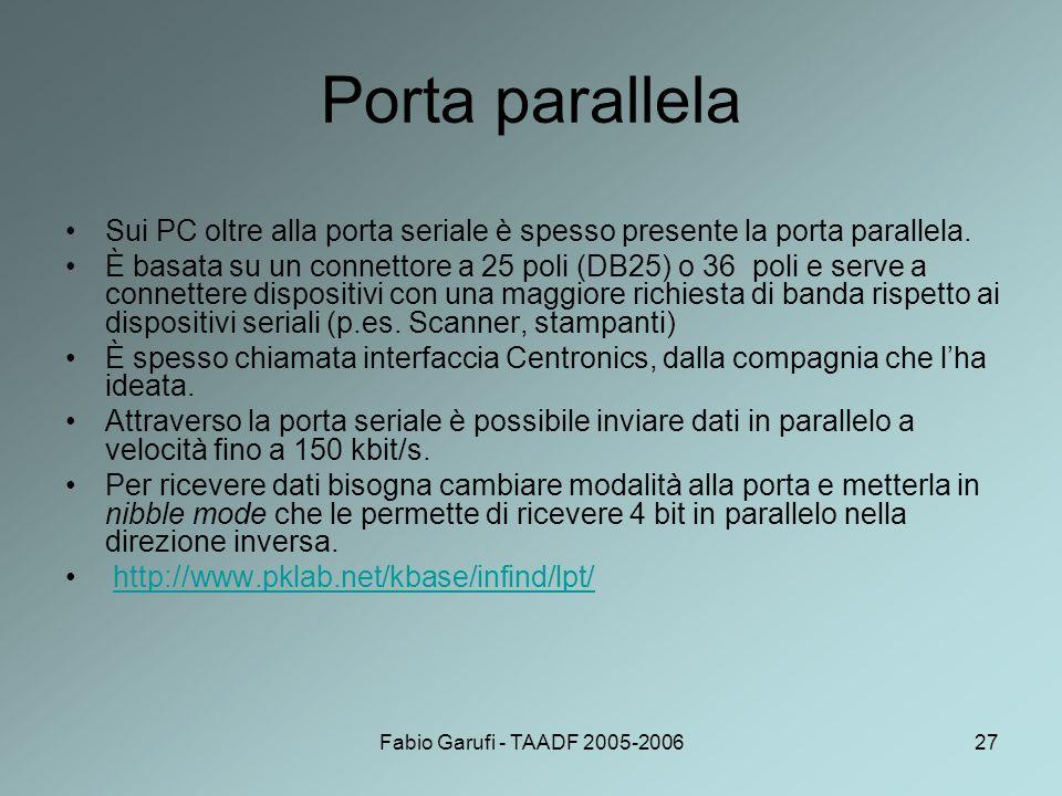 Fabio Garufi - TAADF 2005-200627 Porta parallela Sui PC oltre alla porta seriale è spesso presente la porta parallela. È basata su un connettore a 25