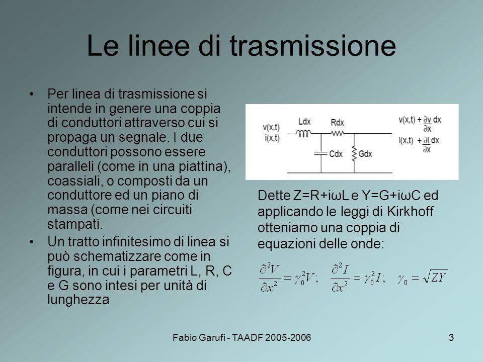 Fabio Garufi - TAADF 2005-20063 Le linee di trasmissione Per linea di trasmissione si intende in genere una coppia di conduttori attraverso cui si pro