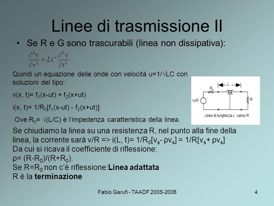 Fabio Garufi - TAADF 2005-20064 Linee di trasmissione II Se R e G sono trascurabili (linea non dissipativa): Quindi un equazione delle onde con veloci