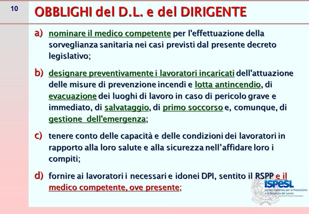 10 a) nominare il medico competente per l'effettuazione della sorveglianza sanitaria nei casi previsti dal presente decreto legislativo; b) designare