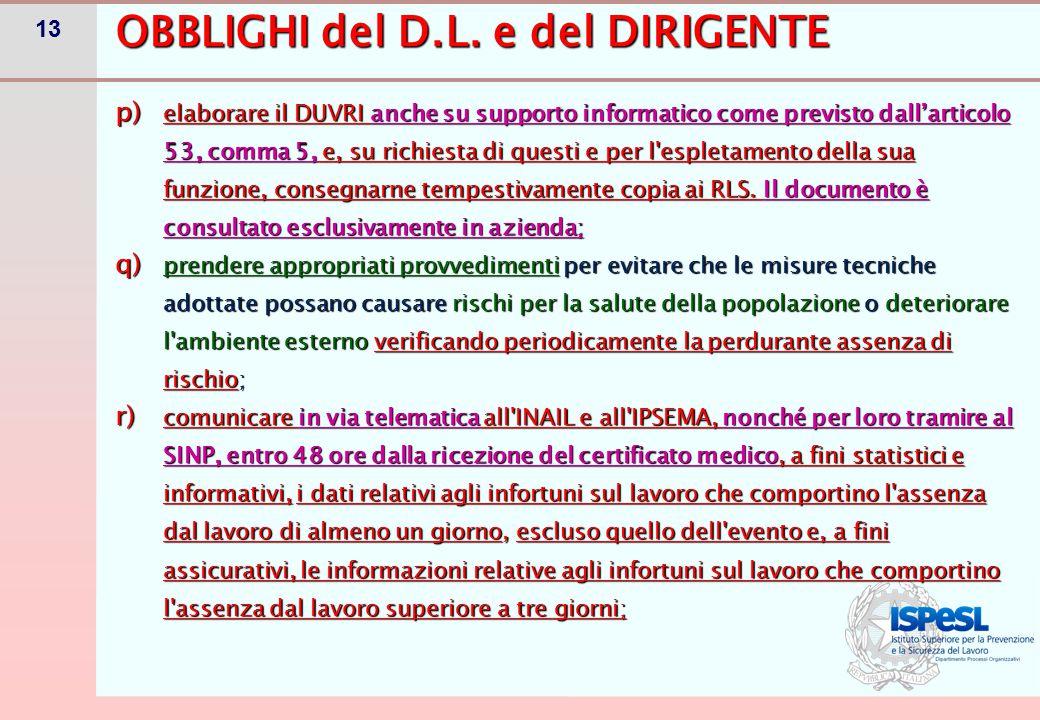 13 p) elaborare il DUVRI anche su supporto informatico come previsto dall'articolo 53, comma 5, e, su richiesta di questi e per l'espletamento della s