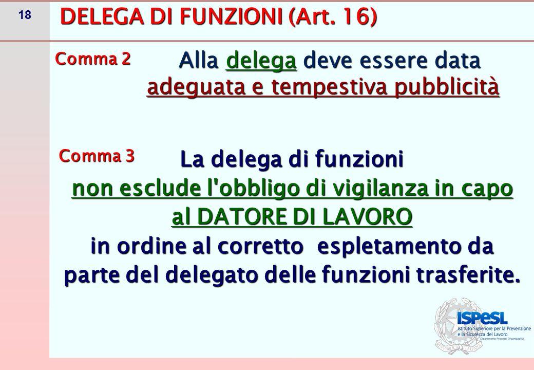 18 DELEGA DI FUNZIONI (Art. 16) Alla delega deve essere data adeguata e tempestiva pubblicità Alla delega deve essere data adeguata e tempestiva pubbl