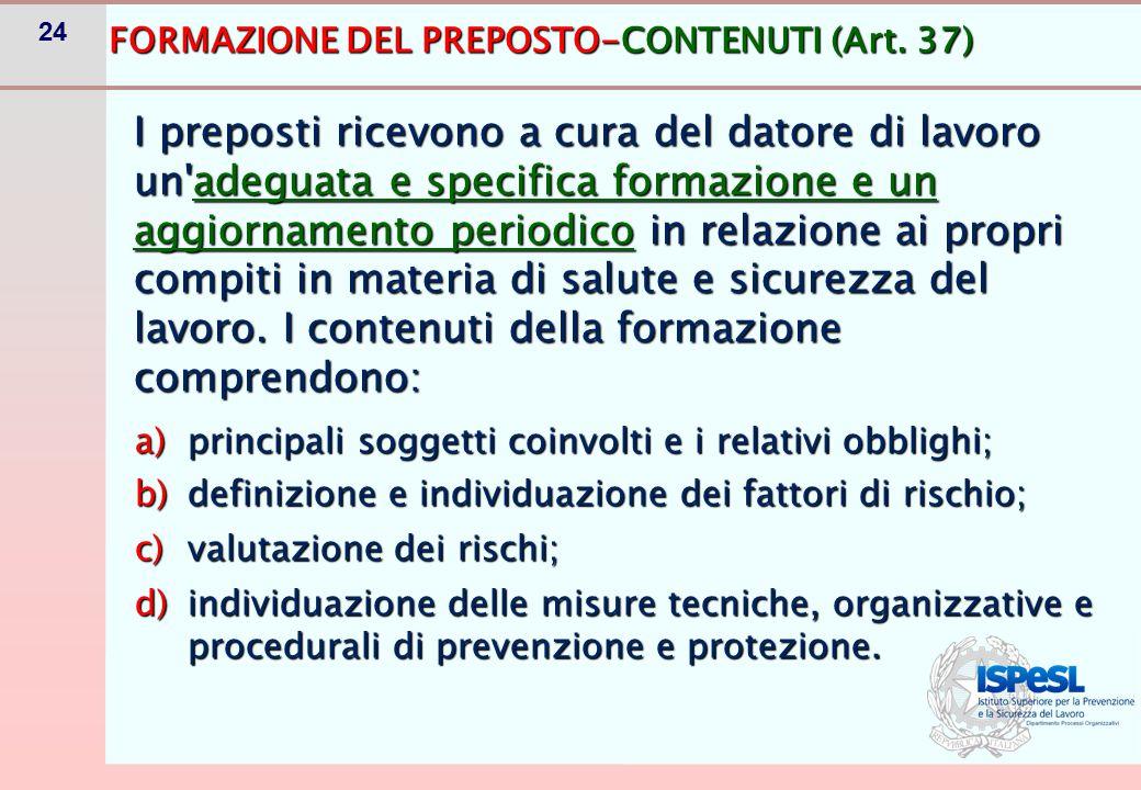 24 FORMAZIONE DEL PREPOSTO-CONTENUTI (Art. 37) a)principali soggetti coinvolti e i relativi obblighi; b)definizione e individuazione dei fattori di ri