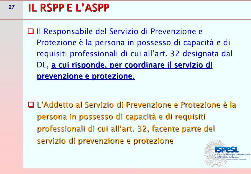 27 IL RSPP E L'ASPP a cui risponde, per coordinare il servizio di prevenzione e protezione.  Il Responsabile del Servizio di Prevenzione e Protezione